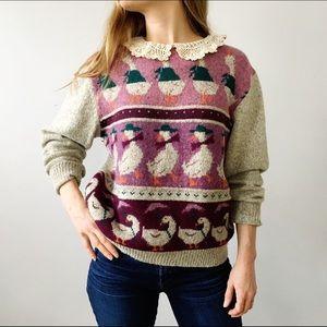 Vintage 90s Crochet Collar Duck Sweater
